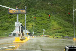 Waiting at the Whittier tunnel staging area