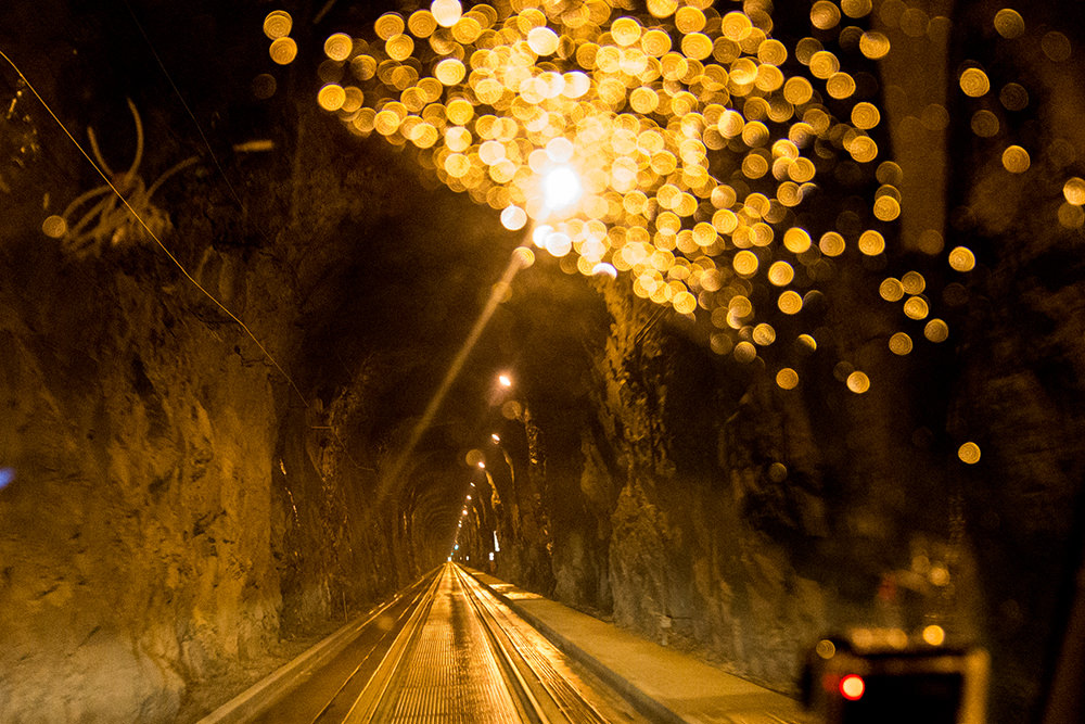 Inside the Whittier tunnel