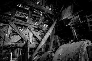 Inside the concentration mill building at the abandoned Kennecott Copper Mill Town