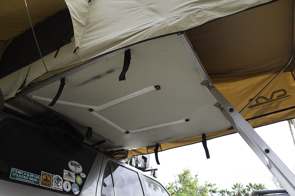 The rest of the UtilityLite light kit mounted on the underside of the CVT tent.
