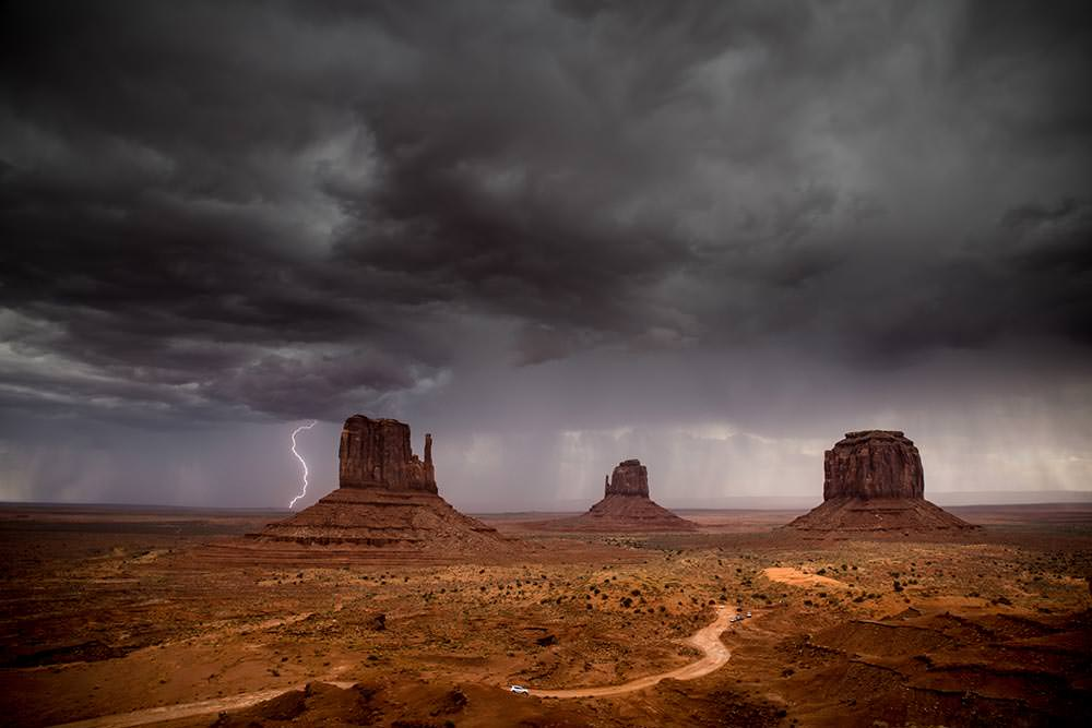 Lightning at Monument Valley