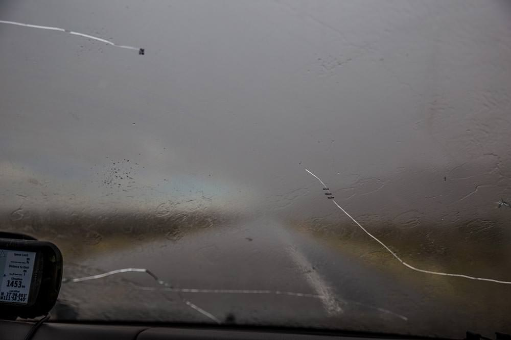 Rain through the windshield