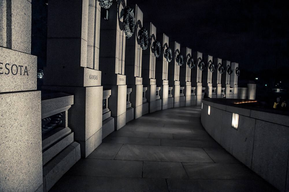 World War II Memorial, Washington DC, at night