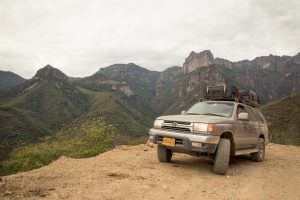 Driving the winding Urique road.