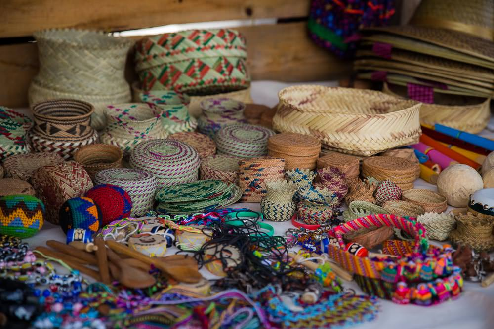 Locally made woven baskets.