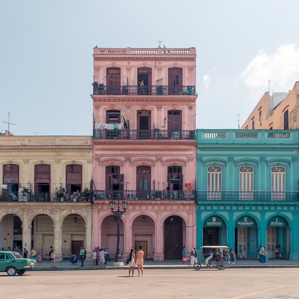 Colourful restored buildings line the streets of Havana Vieja.