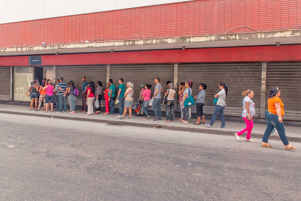 Here's the queue at the compulsory bag check window at a Cuban department store. Proving that shopping for the essentials in Havana is a serious business.