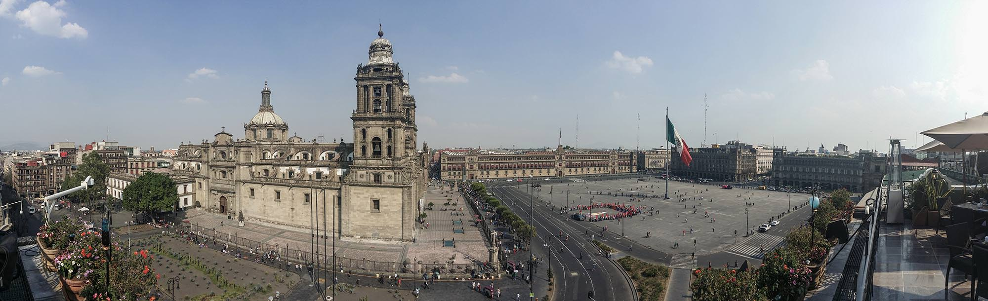 Zócalo and cathedral from above.