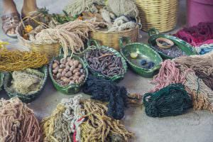 All natural methods for dying the wool.