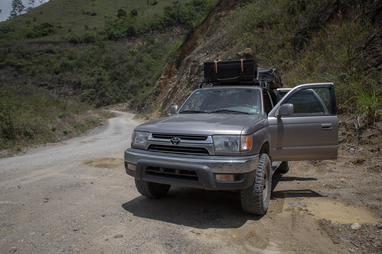 Roadside repair stop on a Guatemalan highway.