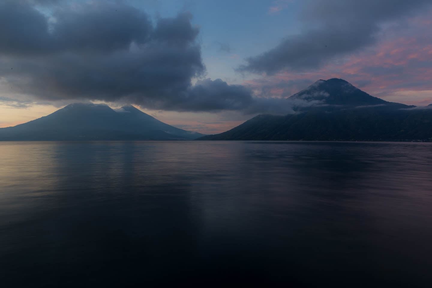 The volcanoes. Left to right: Tolimán, Atitlán (tucked in behind a bit) and San Pedro.